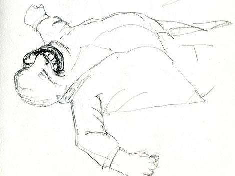 Skizze Mann mit Gebiss