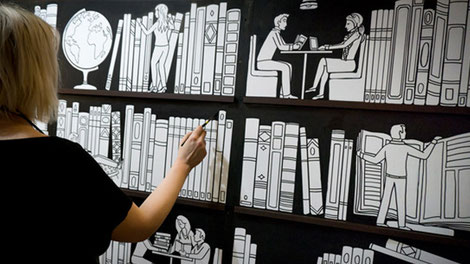 giant interactive colouring bookcase mural