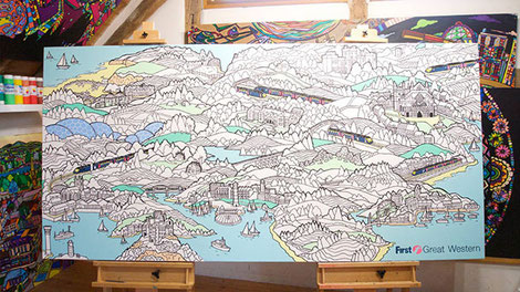 Train map colouring canvas art