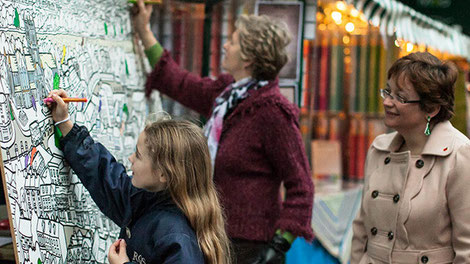 Worcester colouring in at the Christmas Victorian Market