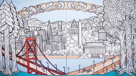 American cities coloring page