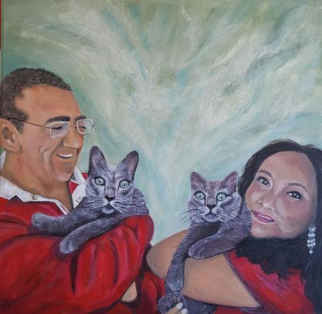 Familieportret 60x60 cm olieverf op louvredoek  Martin&Marilyn en hun twee katten Skye&Blue Bell