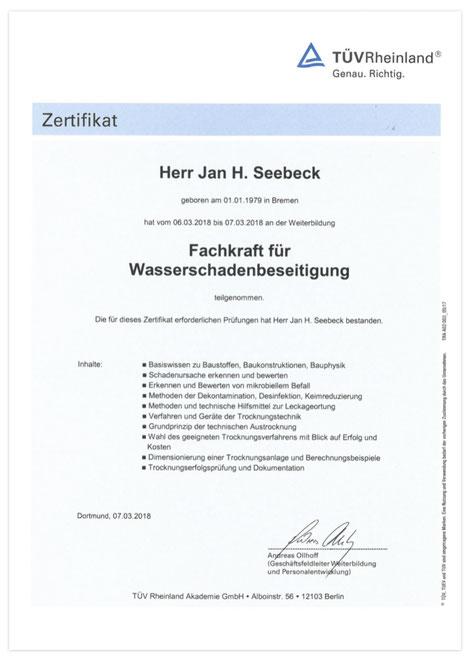 TÜV Zertifikat Fachkraft Wasserschadenbeseitigung