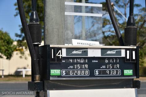 ガソリン代は日本より少し高いくらい。写真はディーゼル