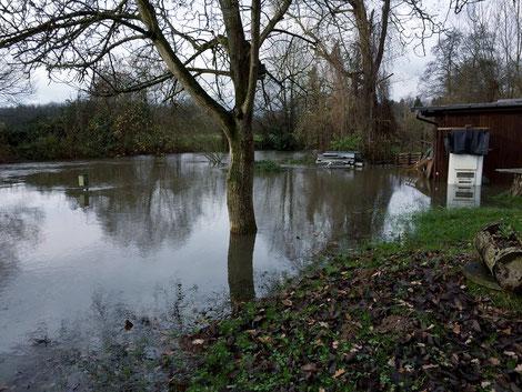 AV-Gebemm / Hochwasser an der Vereinshütte Dezember  2017