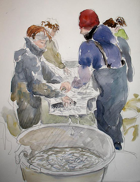 Belval, table de tri; aquarelle Jean Chevallier