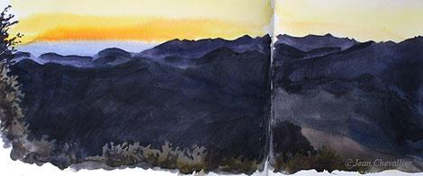 Col d'Organbidexka, depuis Iraty, à l'aube, aquarelle Jean Chevallier
