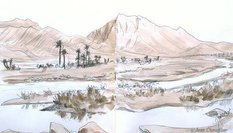 OUed Ghir, Maroc, lavis Jean Chevallier