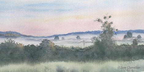 A Chatillon sur Broué à l'aube, aquarelle Jean Chevallier