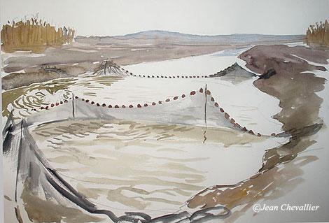 Etang de Belval en Argonne, aquarelle jean Chevallier
