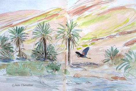 Héron pourpré Oued Ghir, aquarelle jean Chevallier