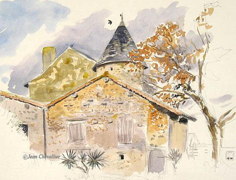 Ménigoute: Derrière le musée, aquarelle Jean Chevallier