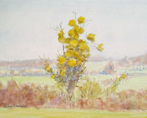 Paysage Chatillon, aquarelle Jean Chevallier