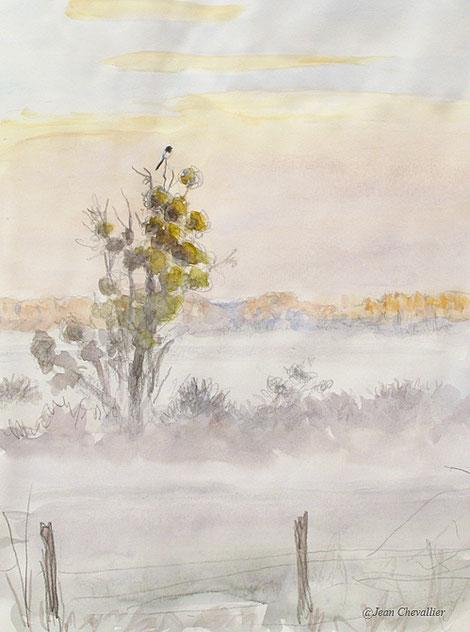 Chatillon sur Broué, aquarelle Jean Chevallier