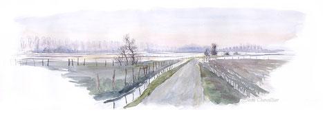 Prairies de la Voire inondées, au soir, aquarelle Jean Chevallier
