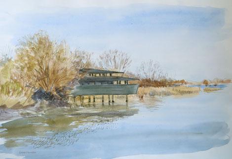 Trop de rides sur le lac, je me rabat vers Chantecoq. L'observatoire avance sur l'eau comme un navire voulant rejoindre le lac.