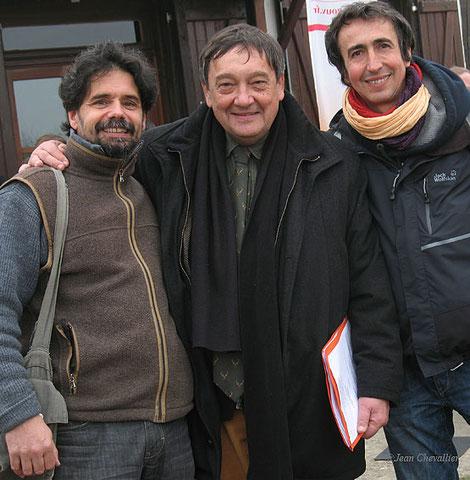 Avec Jean-Pierre Poly, grand directeur de l'ONCFS, et l'ami Antoine Cubaixo, guide naturaliste, devant la Maison de la Réserve au lac du Der