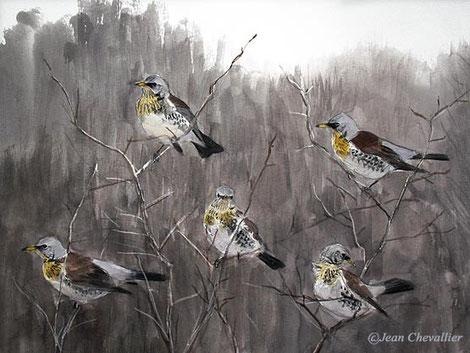 grives litornes turdus pilaris aquarelle jean chevallier