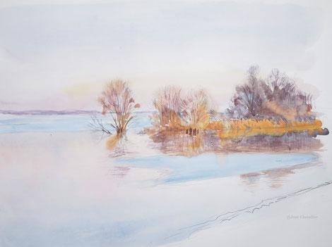 Au lac du Der, depuis la digue sur route. Aquarelle inachevée.