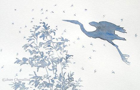 Héron pourpré et libellules, aquarelle Jean Chevallier