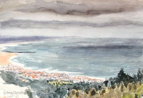 Vue sur Figueira da Foz, depuis l'hotel Casa Pinha, par temps gris. Aquarelle Jean Chevallier