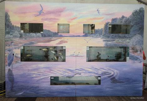 La Loire, fresque 2,4 x 3,5 m avec aquariums intégrés. Muséum des sciences naturelles à Orléans.