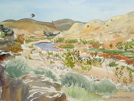 Oued Assaka, Fort Bou Jerif aquarelle Jean Chevallier
