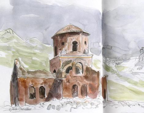 L'église rouge, Turquie. Aquarelle Jean Chevallier