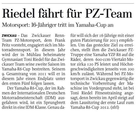 Freie Presse Chemnitz, Zwickau, Rochlitz/Penig, Yamaha R6 Cup, Toni Riedel