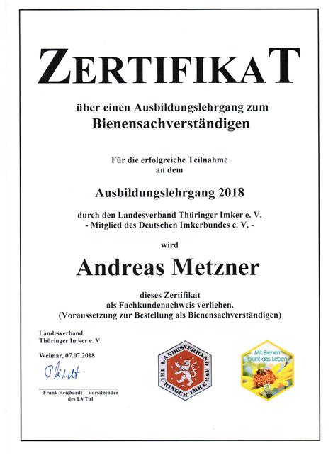 Zertifikat Bienensachverständiger