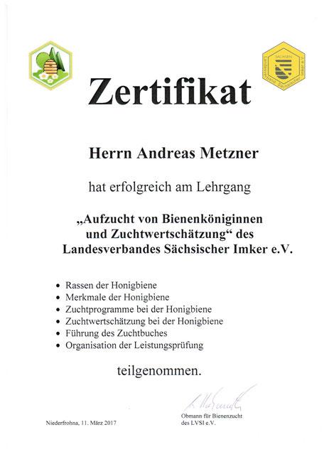 Zertifikat Lehrgang Königinnenzucht