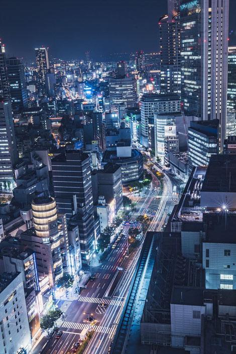 大阪駅前第三ビル展望スペースからの夜景西側