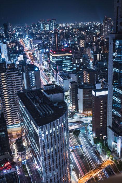 大阪駅前第三ビル展望スペースからの夜景東側
