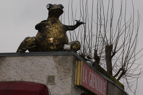 Pendant le voyage il y avait même des grenouilles sur le toit... (Très bon resto)