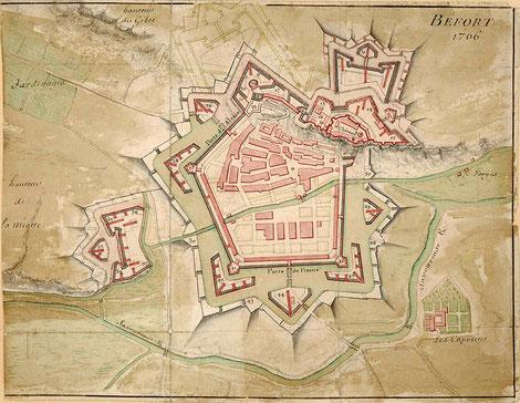 Belfort 1706 - Plan aquarellé des fortifications de Belfort en 1706 (Archives municipales de Belfort)