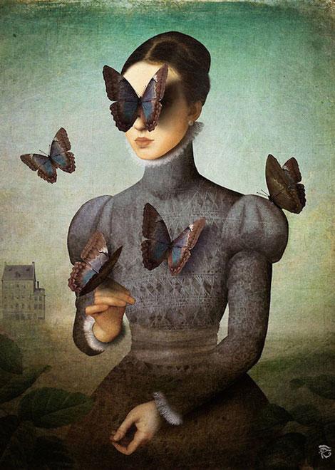 девушка бабочки цифровой сюрреализм Кристиана Шлое (Christian Schloe)