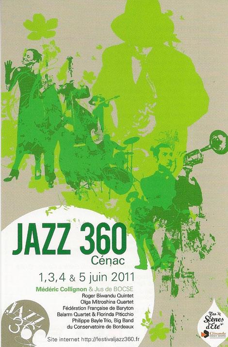 Affiche du deuxième Festival JAZZ360, les 1, 3, 4, 5 juin 2011. Graphisme David Gimenez