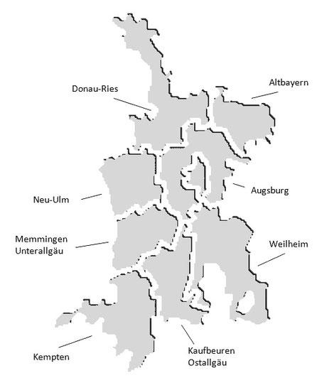 Regionen im Bistum Augsburg