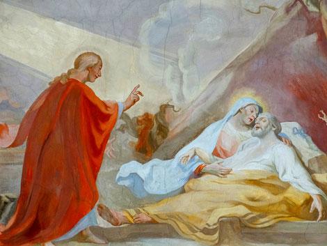 Josef stirbt in den Armen Marias - Christus segnet ihn