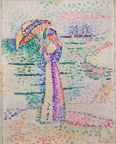 Henri Matisse.Figura con sombrilla 1905.Óleo sobre lienzo,46x37cm.Musée Matisse, Niza. Padre del grupo fauvista, trabajó el puntillismo, buscando la unión entre el clasicismo y primitivismo.La figura femenina vuelve a ser protagonista.