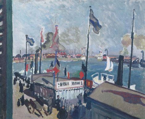 El puerto del Havre 1906.Óleo sobre lienzo.Nantes,Museo de Bellas Artes.Dufy nació en Havre, allé se impregnó de la vida del puerto, del paisaje marítimo.