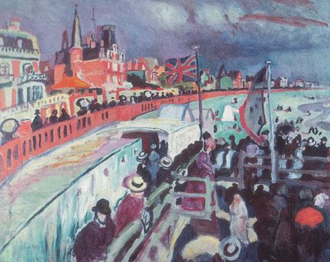 """Raoul Dufy.Fiesta de Sante Addresse 1906.El dibujo, el color, la composición(corta en curva las explanadas de la plada mediante """"estacades""""), las formas y la influencia impresionista de Cezanne y Matisse."""