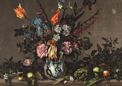Antonio Ponce.Bodegón con alcachofas y jarrón de Talavera,1650-60.Obra maestra de Ponce de frondosa composición floral muy barroca, gran virtuosimo en las texturas, creando efecto trampantojo