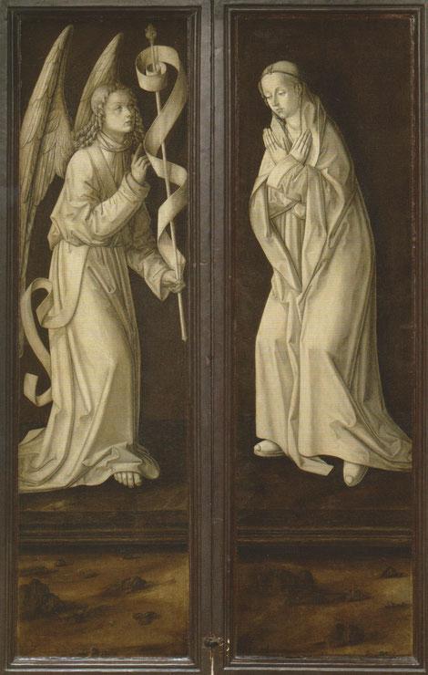 Tríptico cerrado.Escena de la Anunciación.Bermejo hace gala de su virtuosismo pictórico en estas grisallas de inspiración flamenca,obras monocromas de la Anunciación aparecen por primera vez en las obras de Jan Van Eyck,en 1440 la idea llega a España