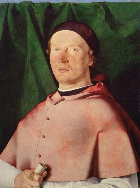 El obispo Berrdo de Rossi,1505.Óleo sobre tabla 54x43cm.Nápoles.Museo di Capodimonnte. Retrato corpulento de busto completo con su atuendo episcopal y cortina verde al fondo.Mirada orgullosa.del birrte oscuro salen rizos rojos con muceta pulcra y anillo.