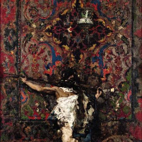 Árabe apoyado en un tapiz 1873.Óleo sobre lienzo 149x75cm.Doha.National Collection of Qatar. Realizada poco despues de volver de Granada a Roma, es el momento de mayor madurez del artista siendo una de sus grandes obras de producción.Muy minucioso.