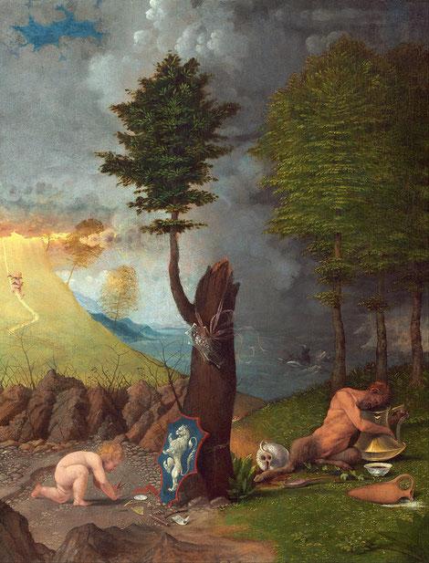 Esta tabla, Alegoría del Obispo Rossi, difícil y compleja representa una encina con tronco quebrado, cuelga escudo transparente con Medusa,en la base otro escudo con león rampante.El sátiro echado en la hierba examina el contenido.Dos ánforas con líquido
