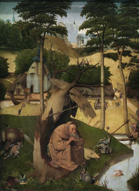 Óleo sobre tabla de roble,73x52cm. Repintadas las zonas más dañadas de esta obra, la figura de San Antonio queda ahogada en la composición perdiendo parte del protagonismo,el pintor lo muestra ensimismado y meditabundo oculto casi por el celaje y árboles.