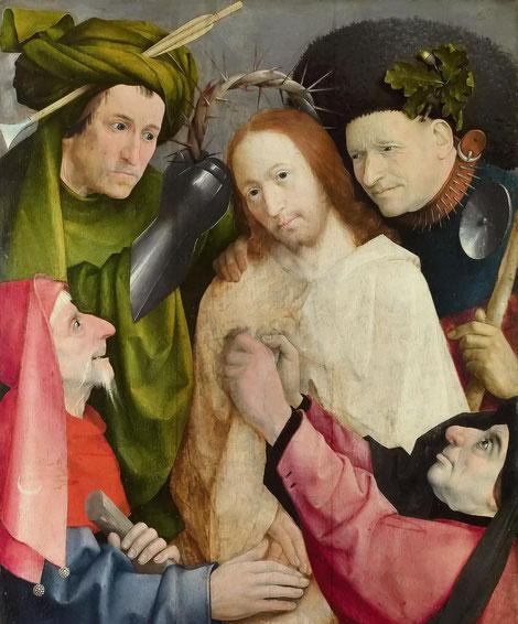 Óleo sobre tabla de roble,73x59cm.Pintada sobre otro óleo de un San Cristóbal.Cristo viste de blanco como se presentó ante Herodes según la errónea traducción en la Vuylgata.Las dos figuras inferiores son judíos por la extraña estrella y la media luna.