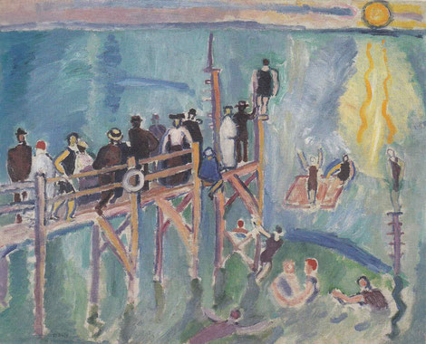 Raoul Dufy.Reflejo del sol en el mar,Sainte Addresse,1906.Óleo sobre lienzo.Copenague,Statens Museum for Kunst. La importancia del paisaje en su pintura, hace de su obra una visión sentida de la naturaleza, es un campo de experimentación.
